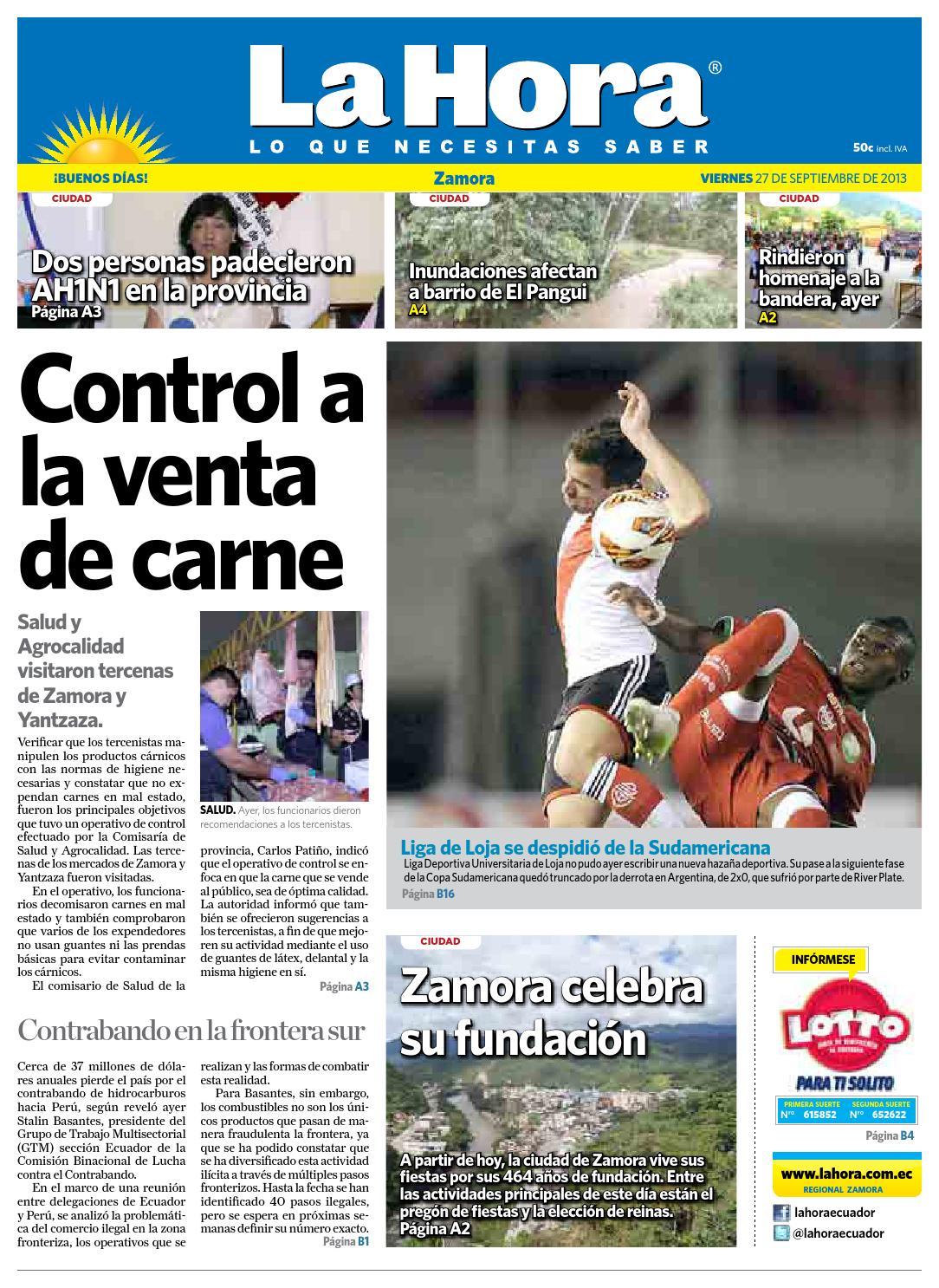 Diario La Hora Zamora 27 De Septiembre 2013 By Diario La Hora  # Muebles Bailon Peligros