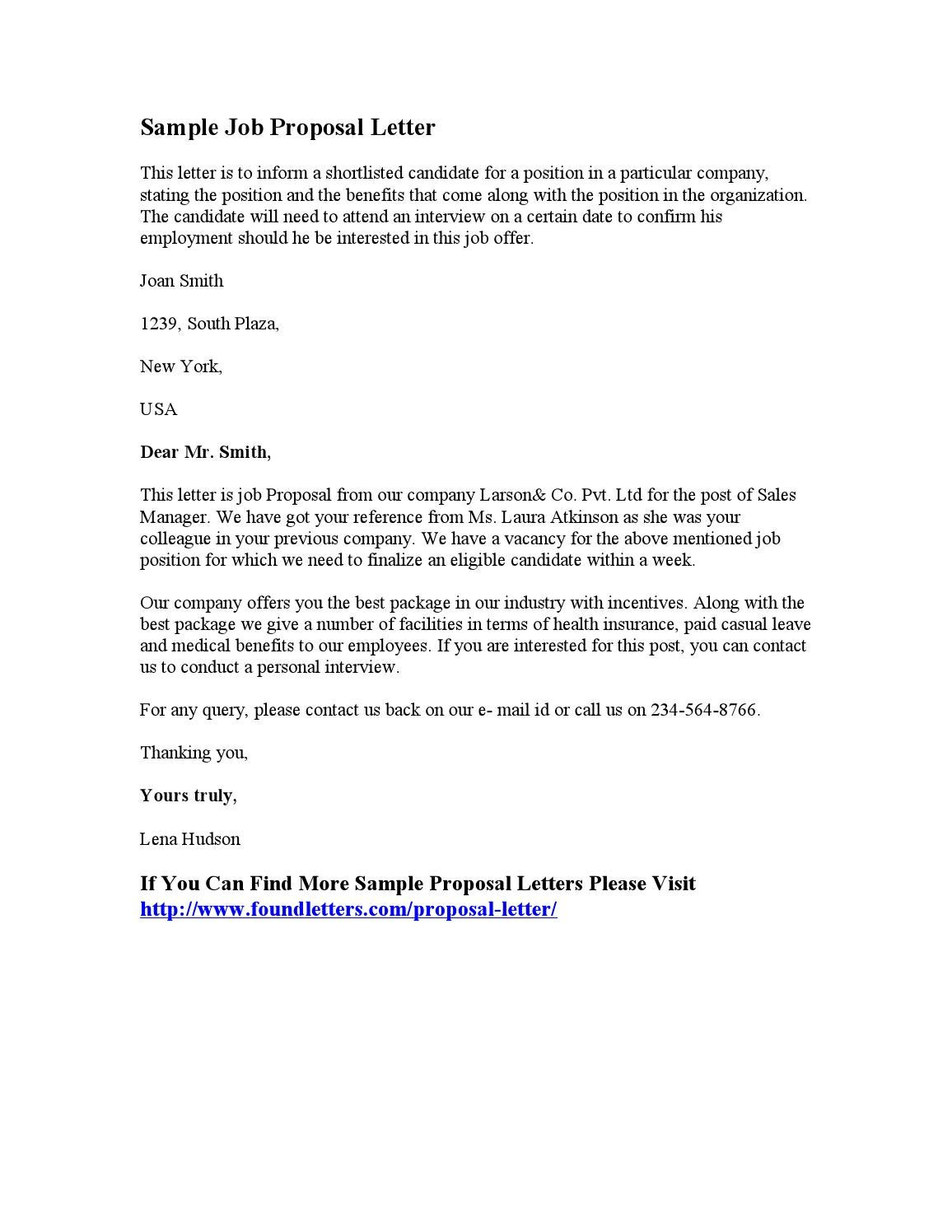 Sample Job Proposal Letter by Stephen Wash issuu – Proposal Letter for Employment