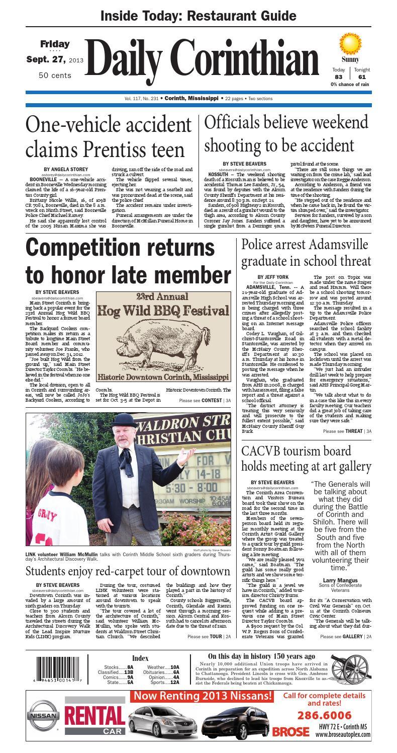 092713 Daily Corinthian E Edition By Daily Corinthian Issuu