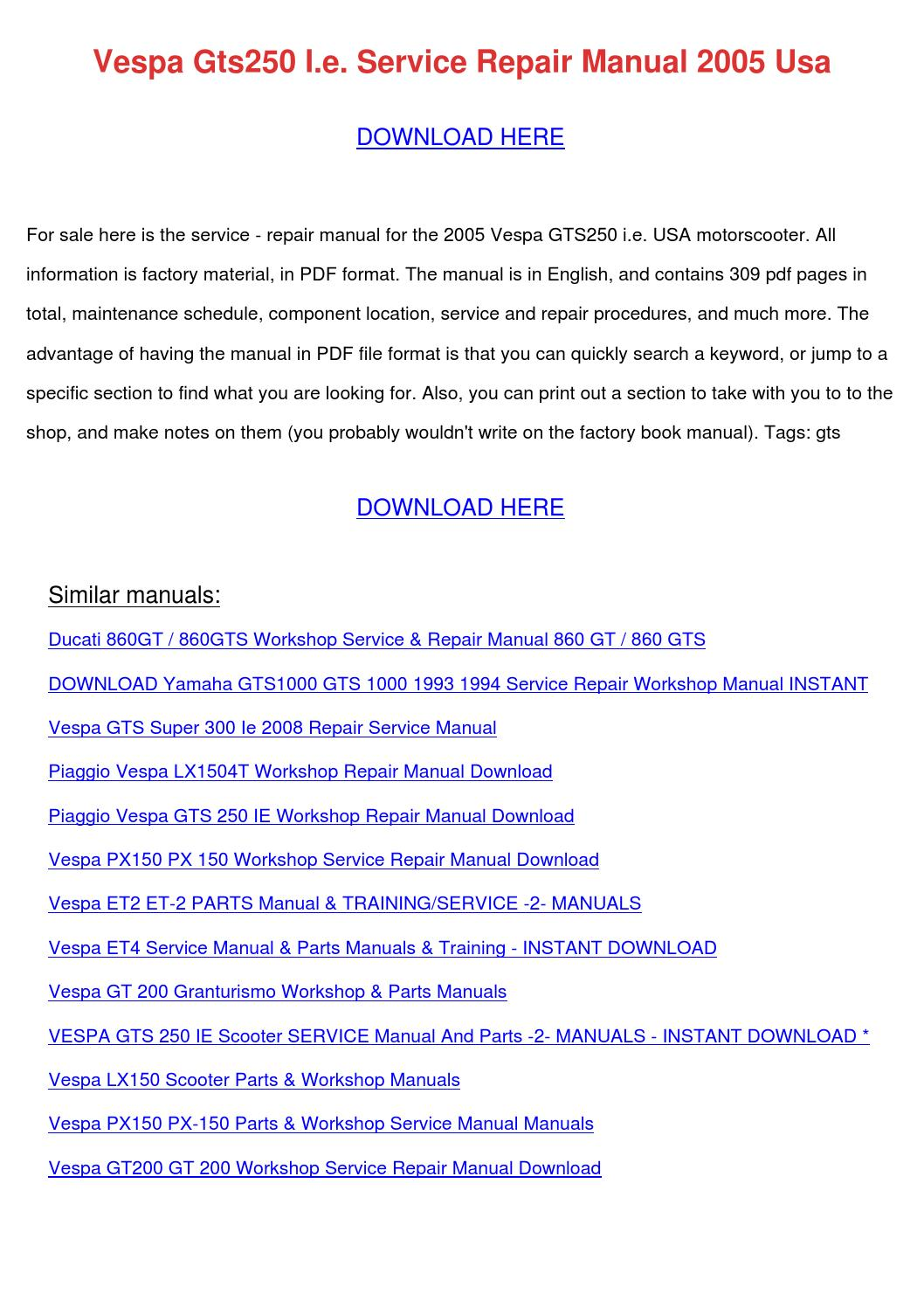 Vespa Gts250 Ie Service Repair Manual 2005 Us By