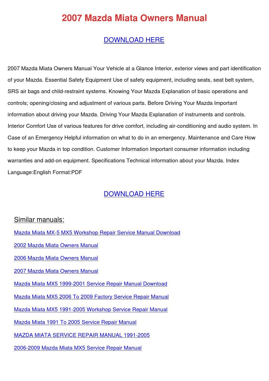 2007 mazda miata owners manual by wadetremblay issuu rh issuu com 2007 mazda miata owners manual Mazda Miata Owner's Manual