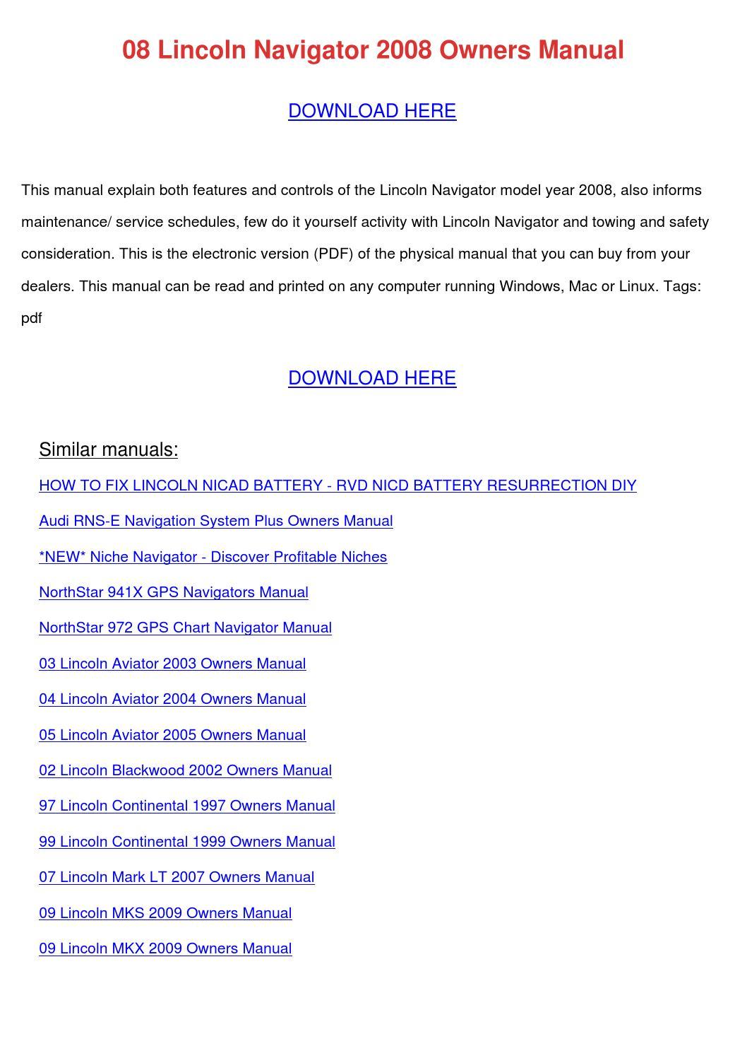 08 Lincoln Navigator 2008 Owners Manual by JasminHagen - issuu