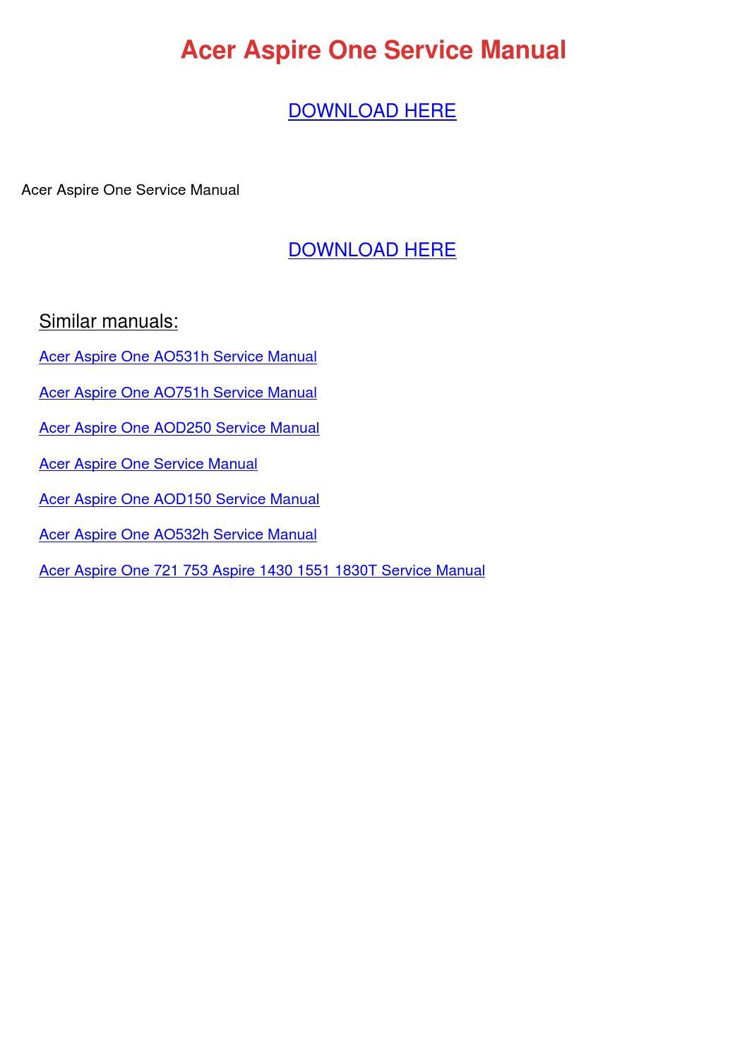 Acer Aspire One Service Manual by JasminHagen - issuu