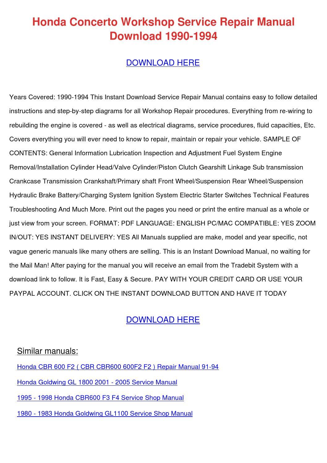 Honda Concerto Workshop Service Repair Manual by MaryMcclung ...