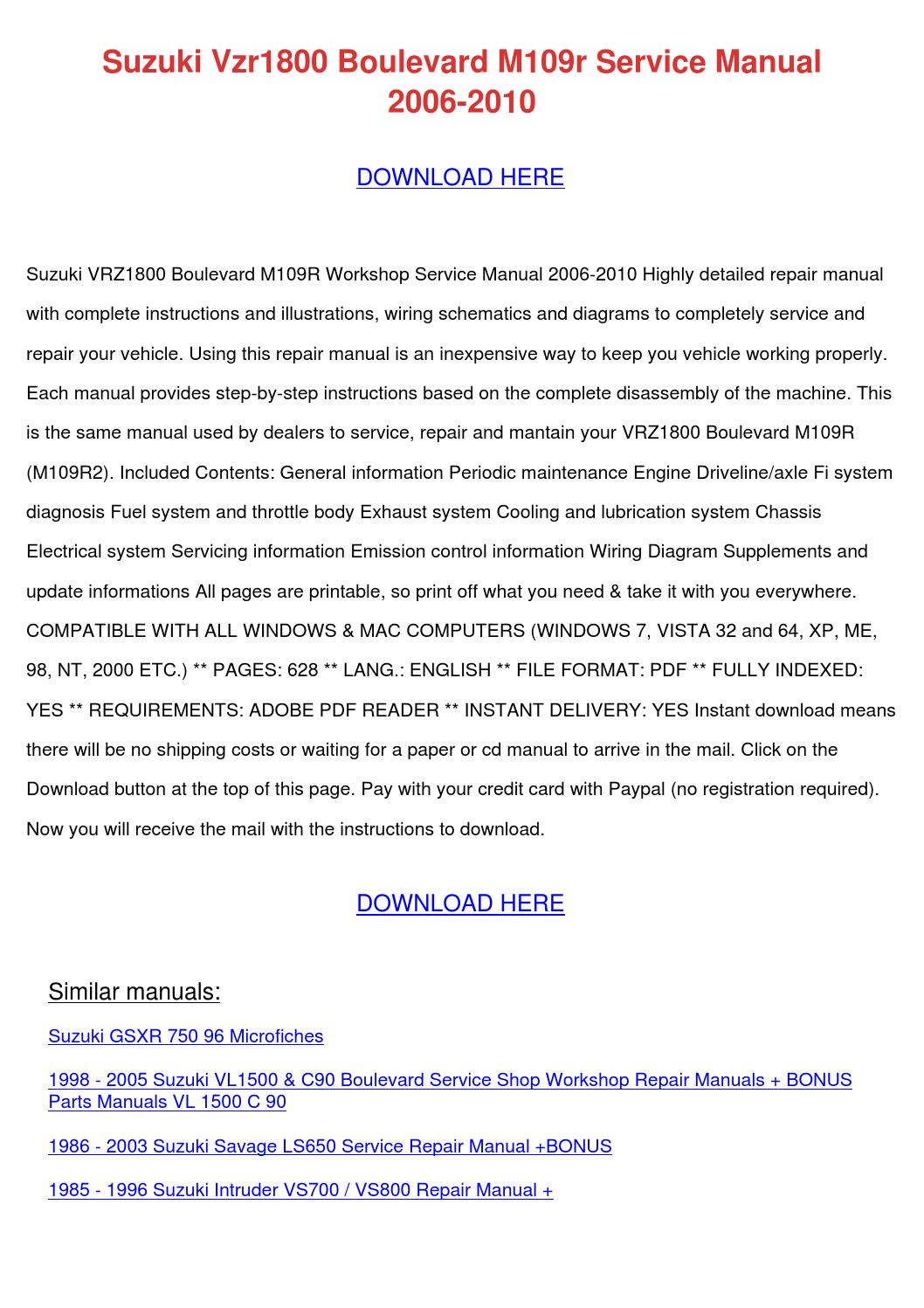 Suzuki Vzr1800 Boulevard M109r Service Manual By Marymcclung Issuu 1986 Samurai Engine Wiring Diagram