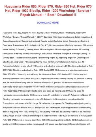 husqvarna rider 850 850hst ride on mower full service repair manual