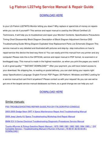 lg flatron l227wtg service manual repair guid by marymcclung issuulg flatron l227wtg service manual repair guid