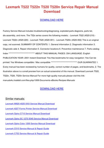 Lexmark e320 printer b/w service manual pdf download.