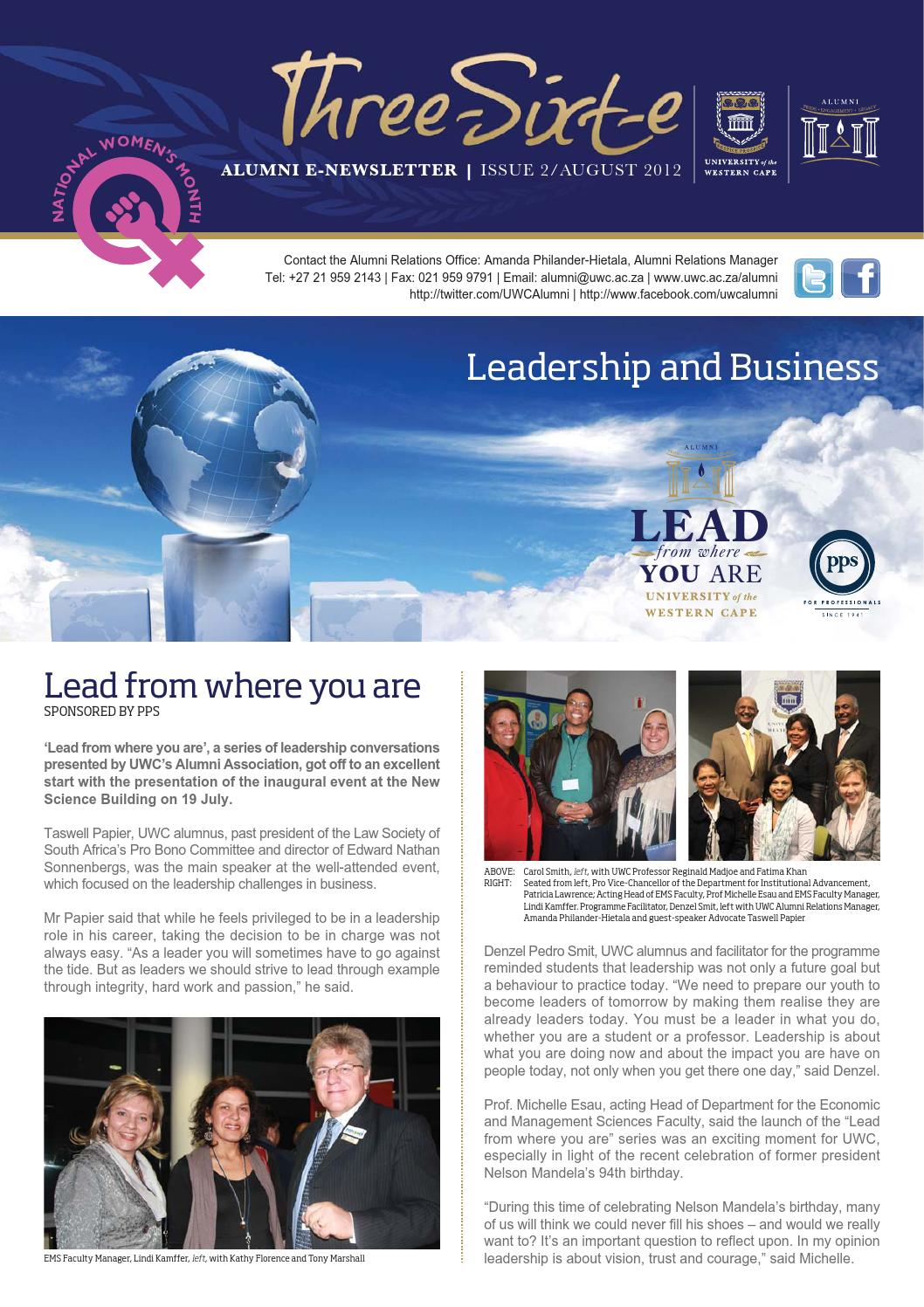 Uwc alumni newsletter issue2 aug 2012 by The University of the