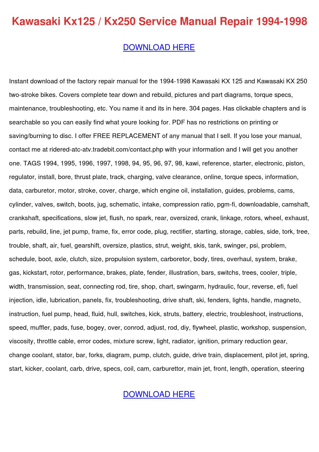 Kawasaki Kx125 Kx250 Service Manual Repair 19 By Deloresboudreaux Issuu