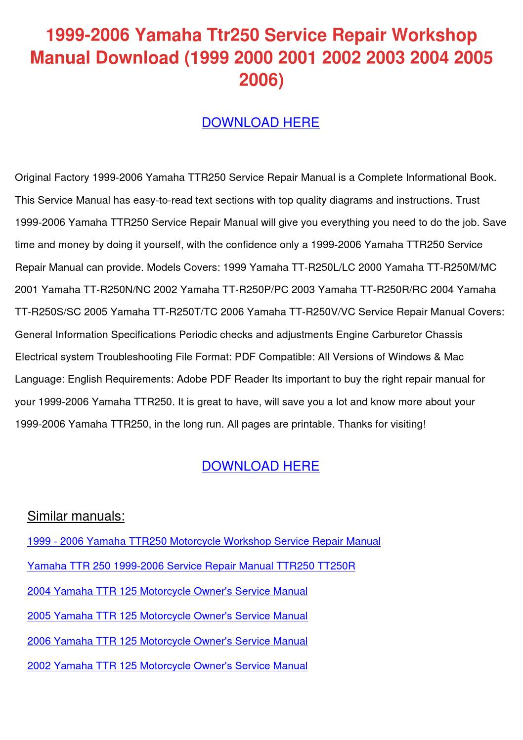 1999 2006 Yamaha Ttr250 Service Repair Worksh By border=