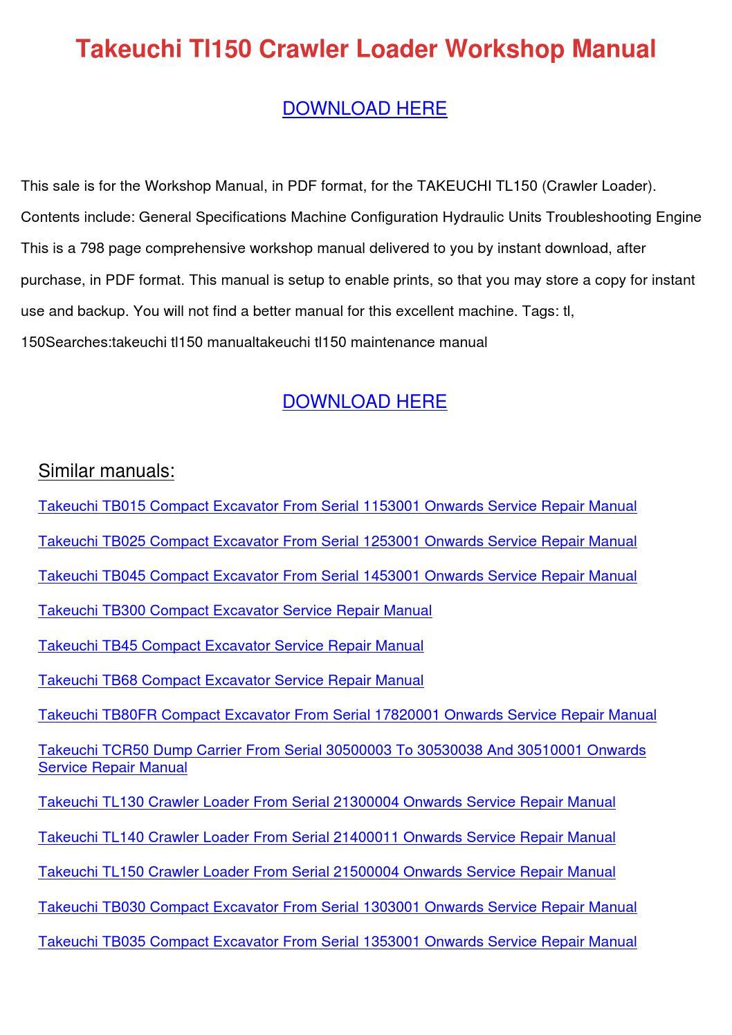 Takeuchi Tl150 service manual pdf key