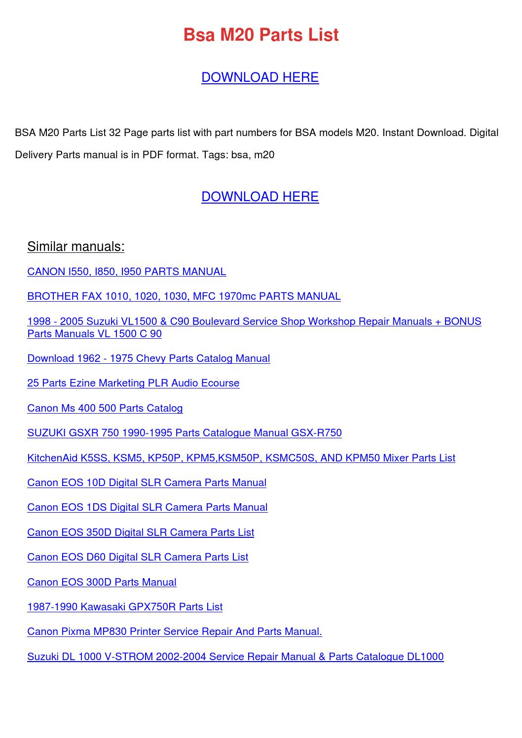 Bsa M20 Parts List By Eduardocromer