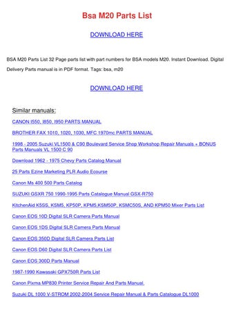 Bsa M20 Parts List by EduardoCromer - issuu