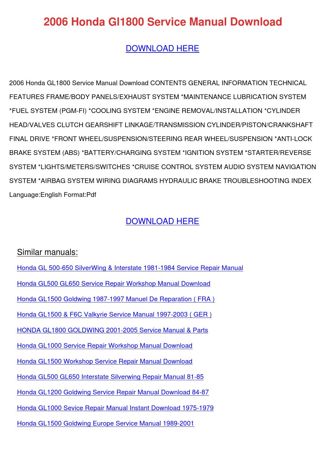2006 Honda Gl1800 Service Manual Download By Edmundcyr