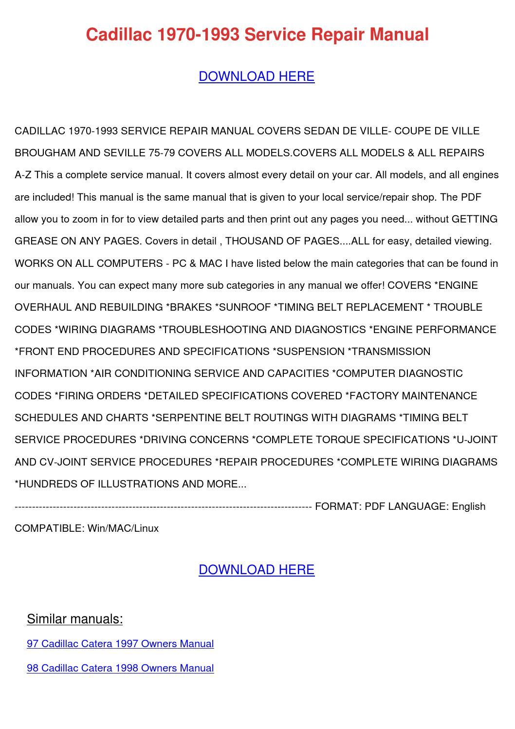 Cadillac 1970 1993 Service Repair Manual by EdmundCyr - issuu