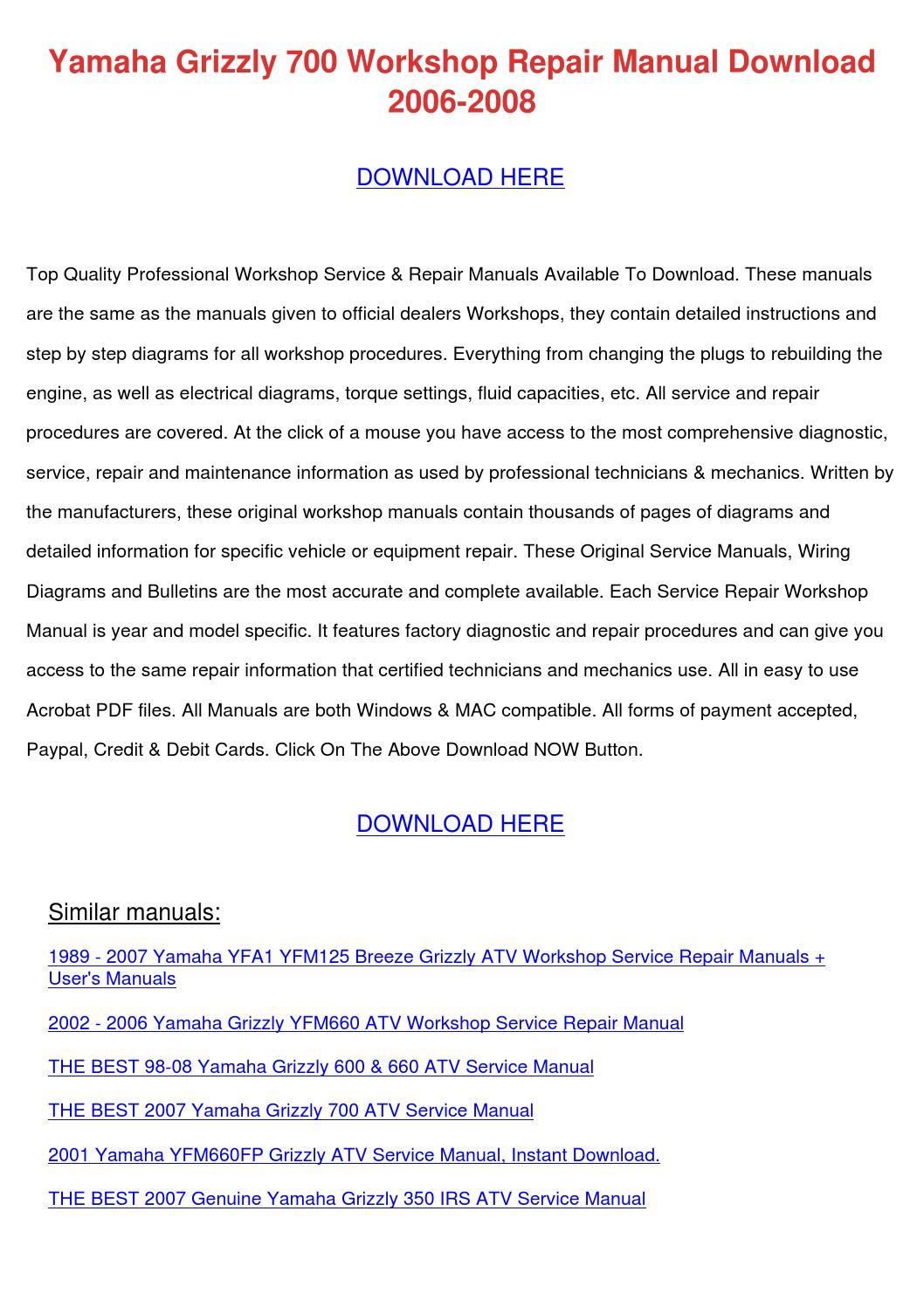 Yamaha Grizzly 700 Workshop Repair Manual Dow By Edmundcyr Issuu