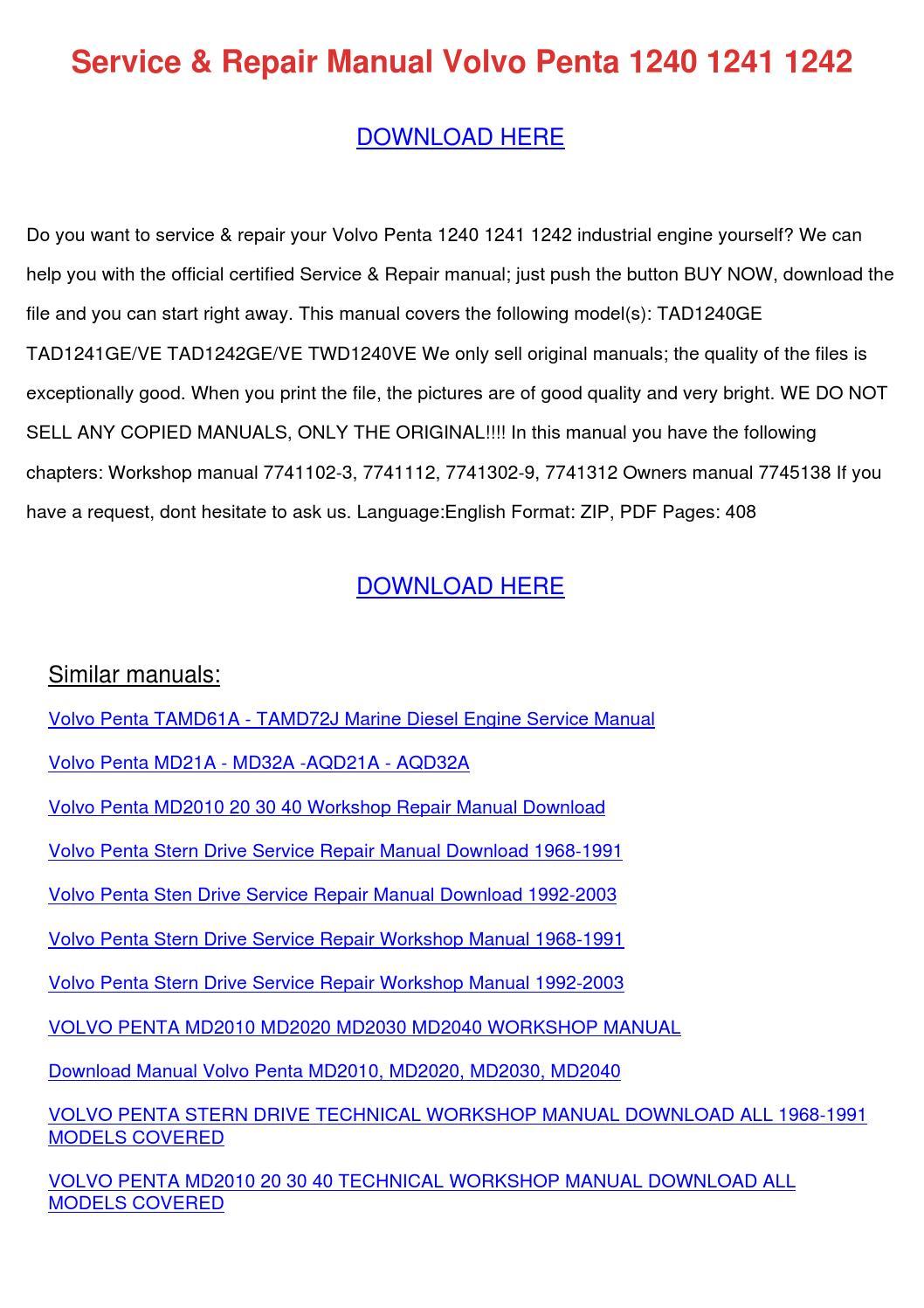 service repair manual volvo penta 1240 1241 1 by