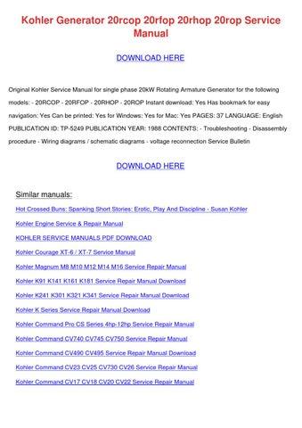 Kohler Generator 20rcop 20rfop 20rhop 20rop S by ... on