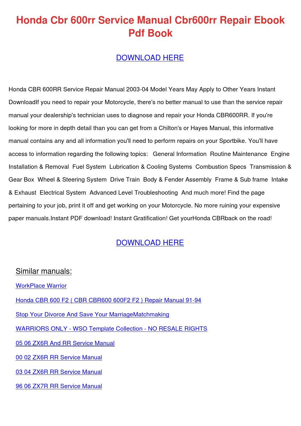 honda cbr600rr service manual pdf