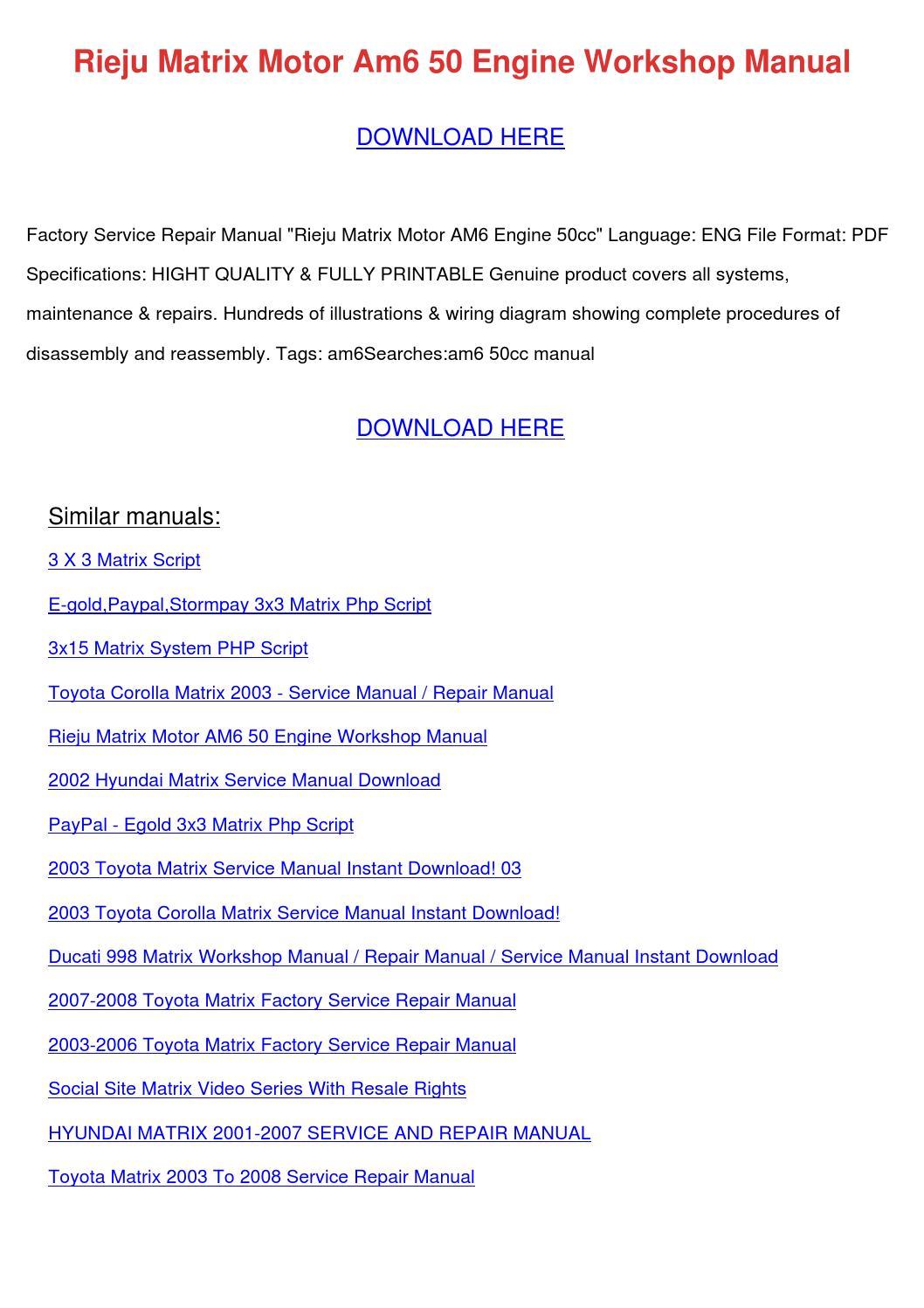 2006 toyota matrix repair manual pdf