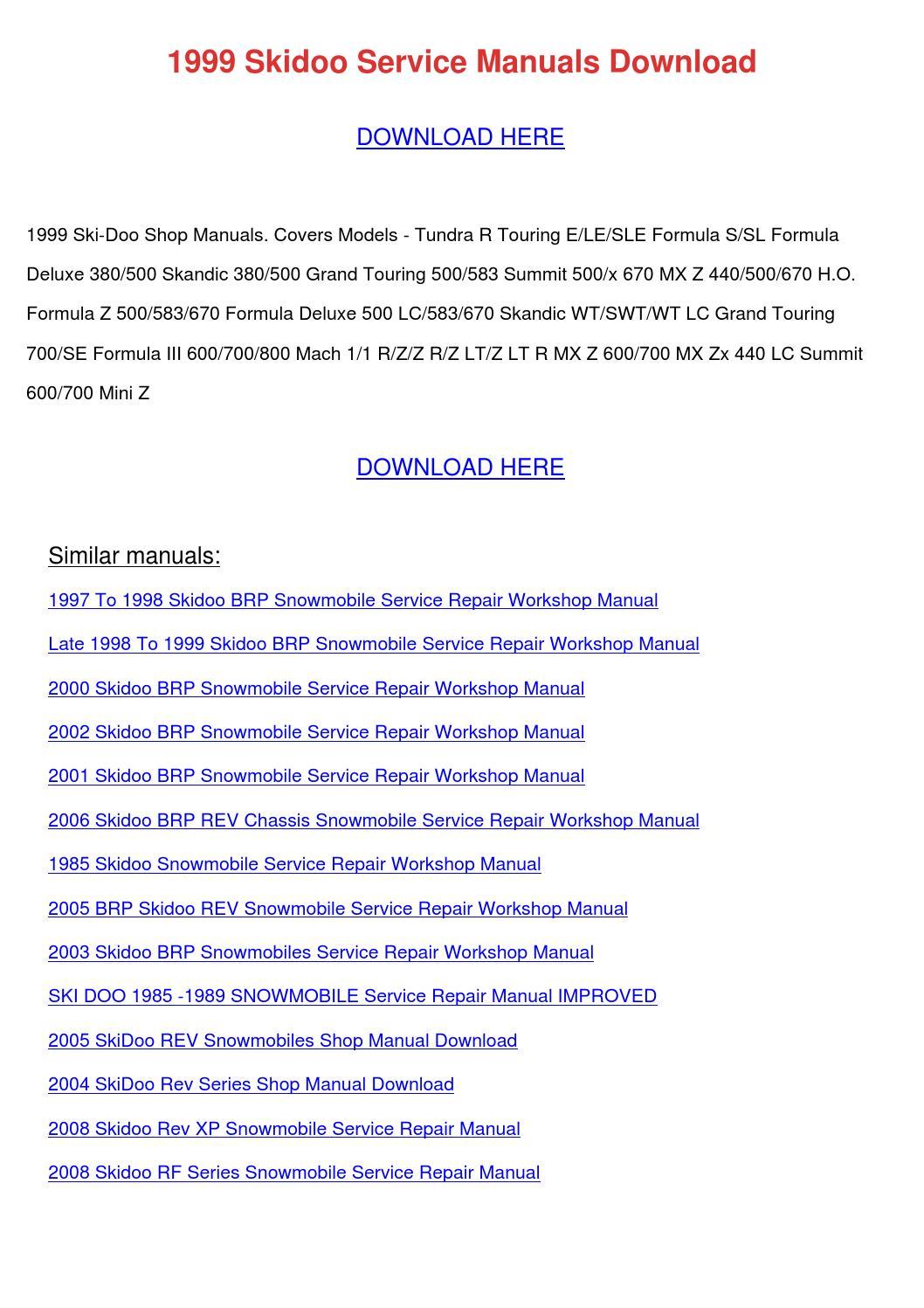 1999 skidoo service manuals download by tomokostott