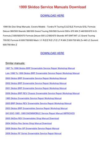 1999 Skidoo Service Manuals Download by TomokoStott - issuu