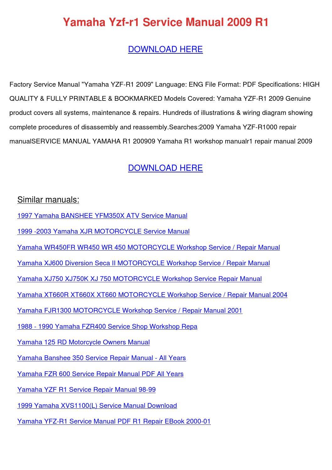 Yamaha Yzf R1 Service Manual 2009 R1 By Tomokostott