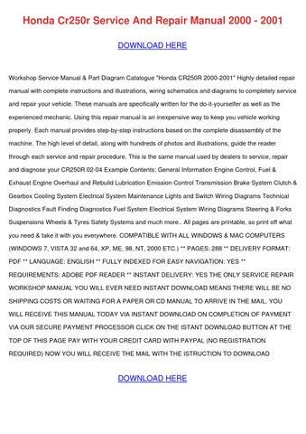 2001 honda cr250r service manual pdf