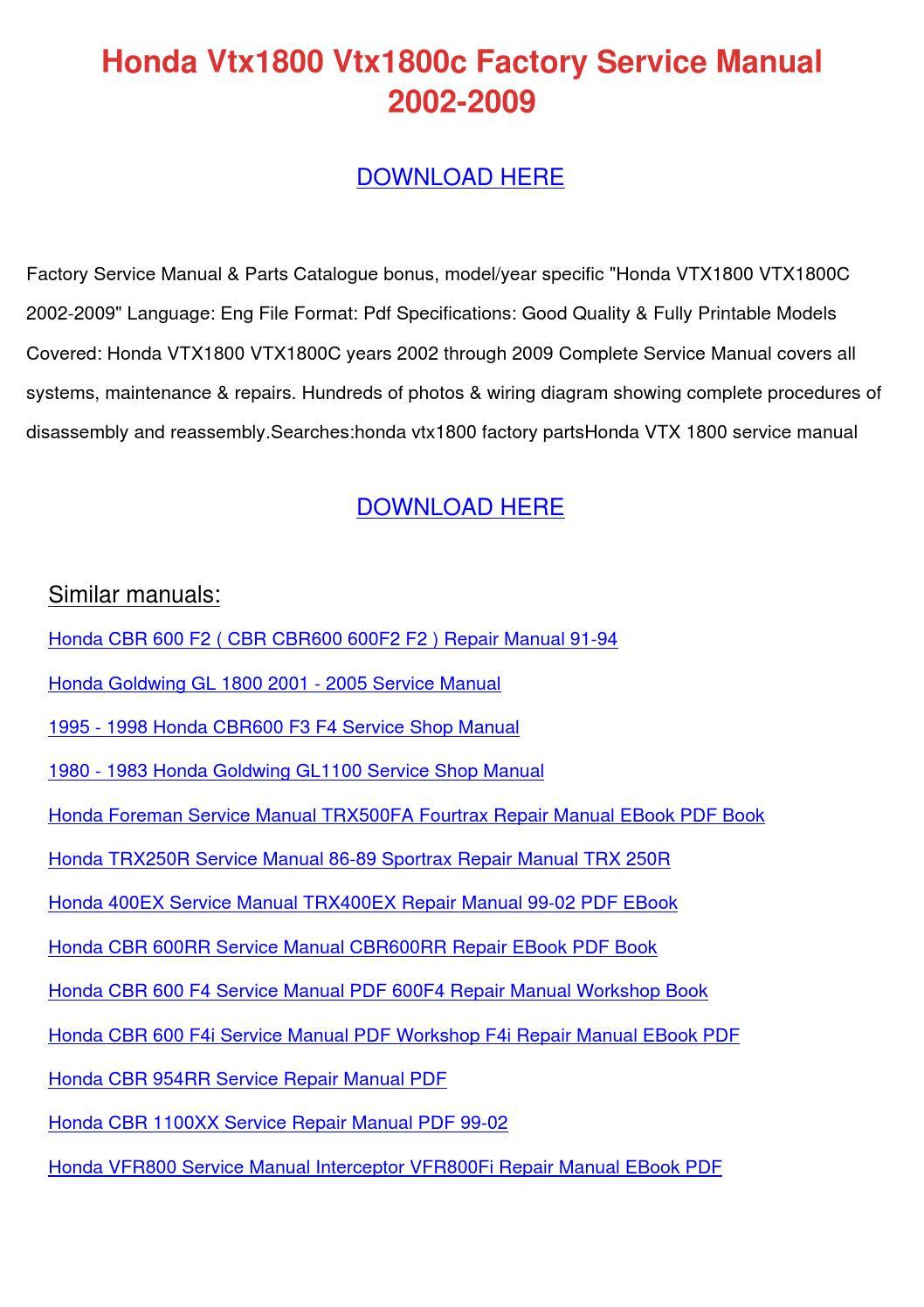Honda Vtx1800 Vtx1800c Factory Service Manual by
