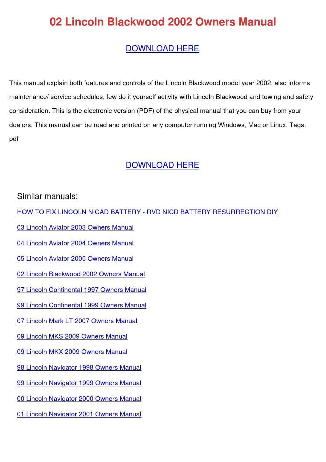 02 Lincoln Blackwood 2002 Owners Manual By Tomokostott Issuu
