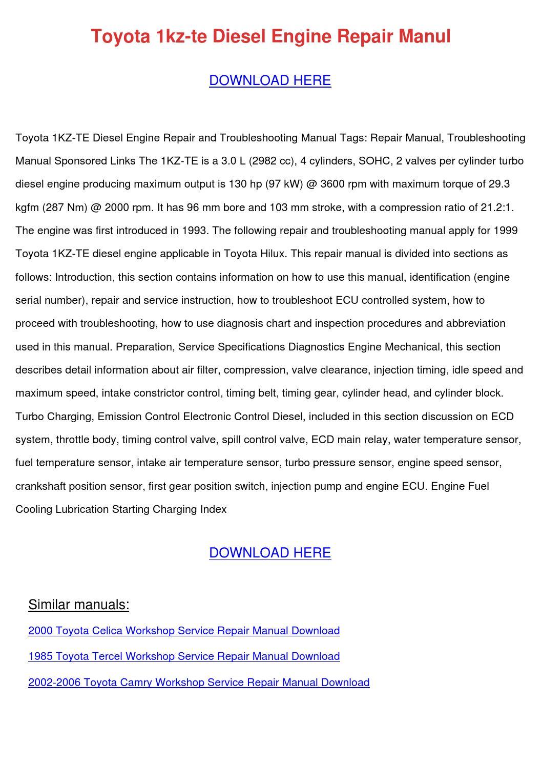 Toyota 1kz Te Diesel Engine Repair Manul by CarlotaBledsoe