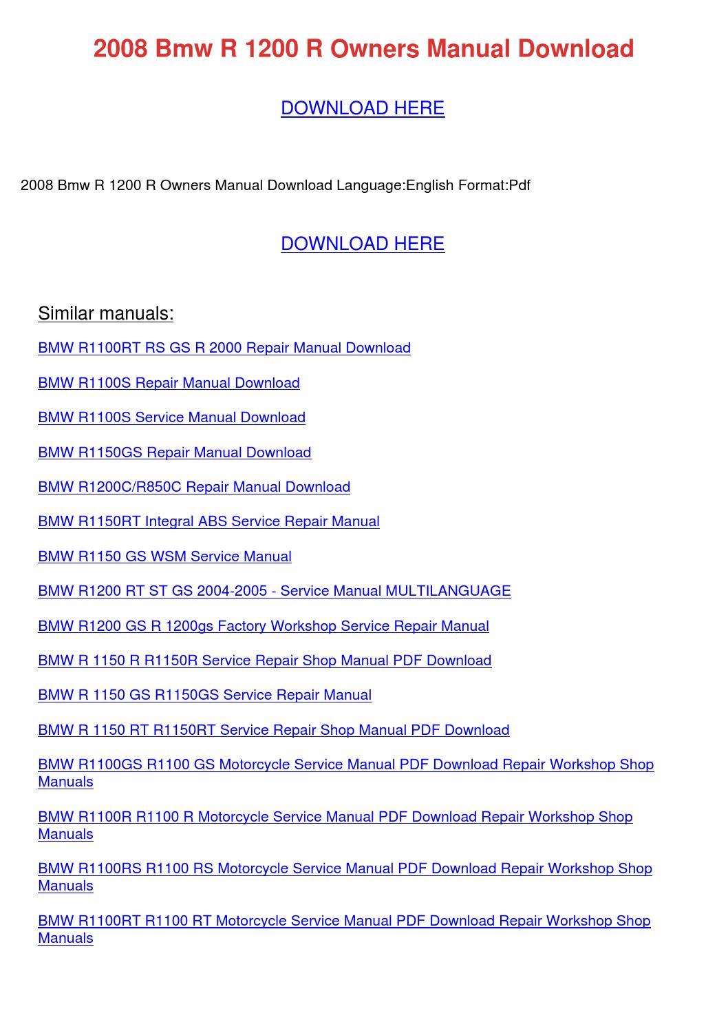 2008 Bmw R 1200 R Owners Manual Download By Joseherrington Issuu