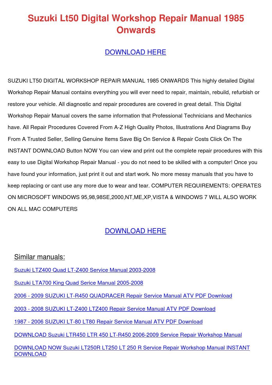 Suzuki Lt50 Digital Workshop Repair Manual 19 by JosefinaHogan - issuu