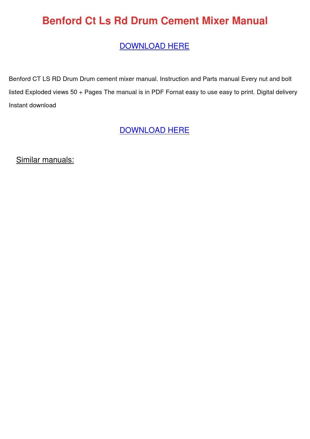 Benford Ct Ls Rd Drum Cement Mixer Manual by JosefinaHogan - issuu