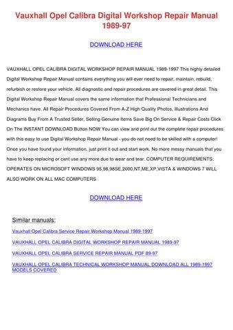 opel calibra service repair manual