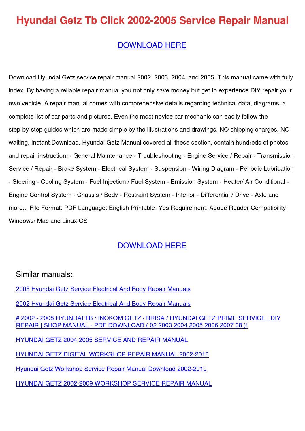 Hyundai Getz Tb Click 2002 2005 Service Repai By
