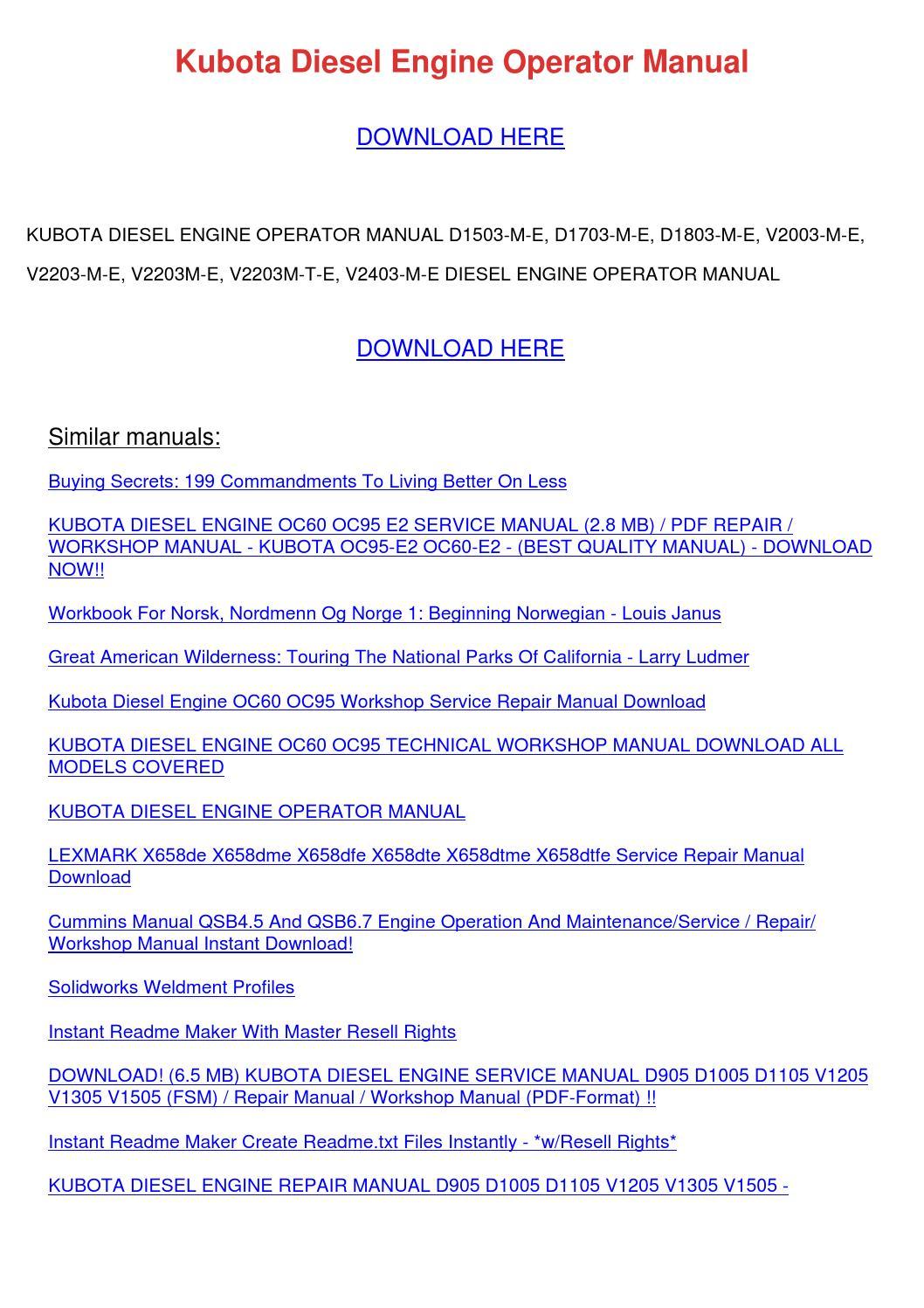 Kubota Diesel Engine Operator Manual by JosefinaHogan - issuu