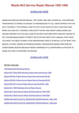 mazda mx 5 miata mx5 1989 1999 service repair manual