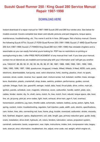 suzuki quad runner 250 king quad 280 1987 98 workshop manual