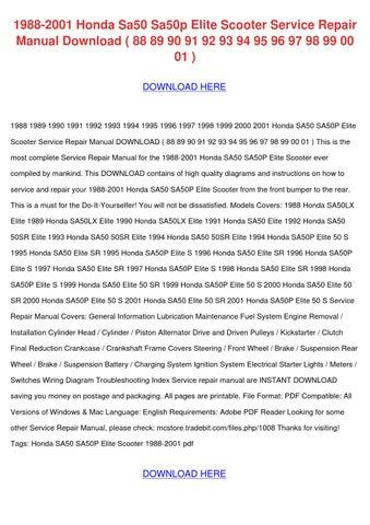Automotive Parts & Accessories ispacegoa.com Honda 1997 SA50 Elite ...