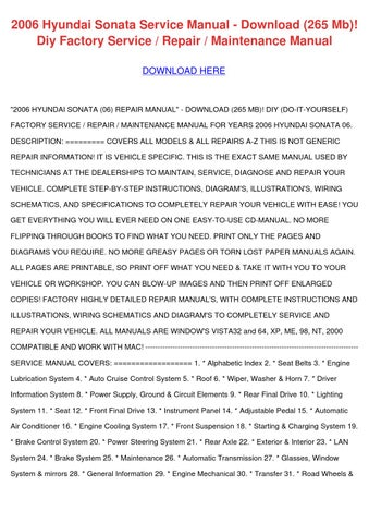 2006 hyundai sonata service manual download 2 by wilmastrother issuu