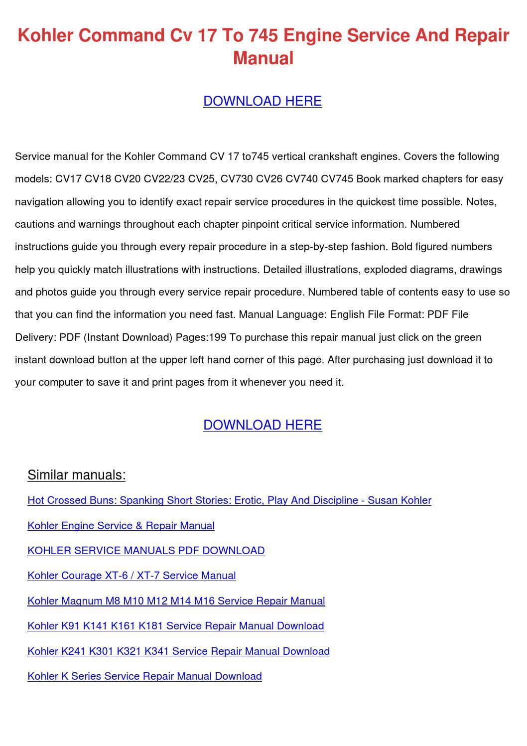Kohler Command Cv 17 To 745 Engine Service An by FranElizondo - issuu