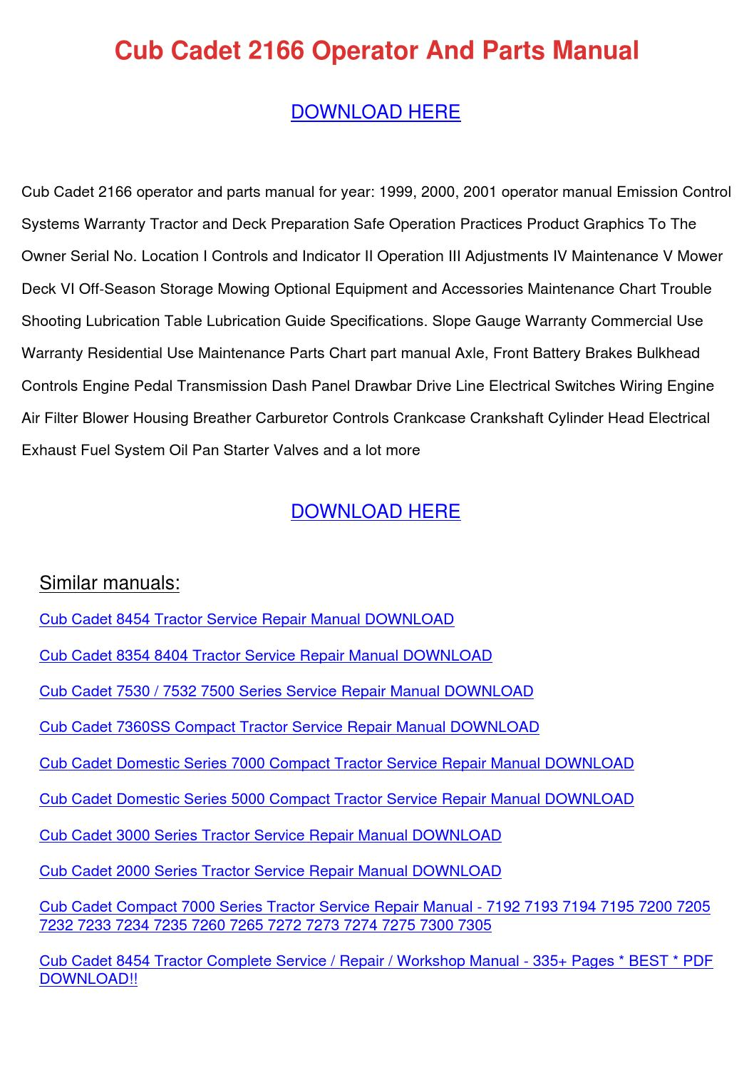 3206 cub cadet wiring diagram cub cadet 2166 operator and parts manual by franelizondo issuu  cub cadet 2166 operator and parts