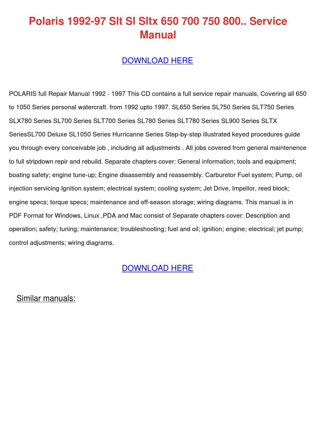 Polaris sl 650 repair Manual