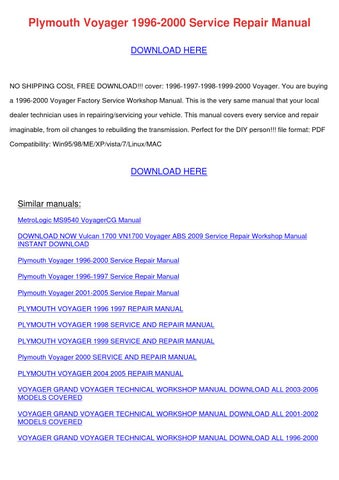 2001 dodge grand caravan repair manual pdf