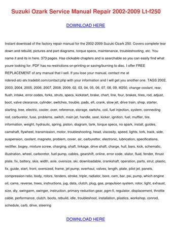 Suzuki Ozark Service Manual Repair 2002 2009 By BarbaraAndre
