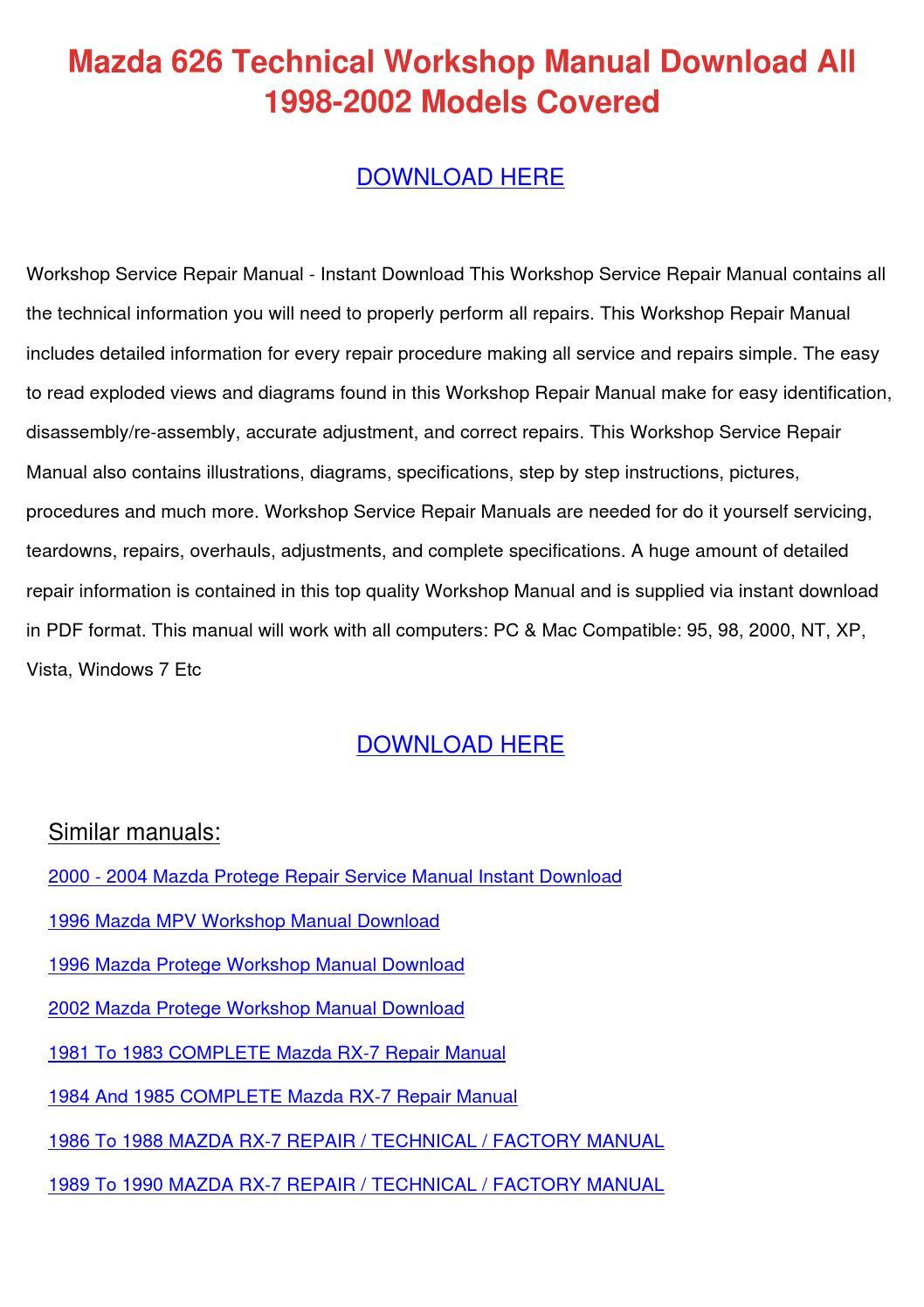 Mazda 323f repair manual pdf