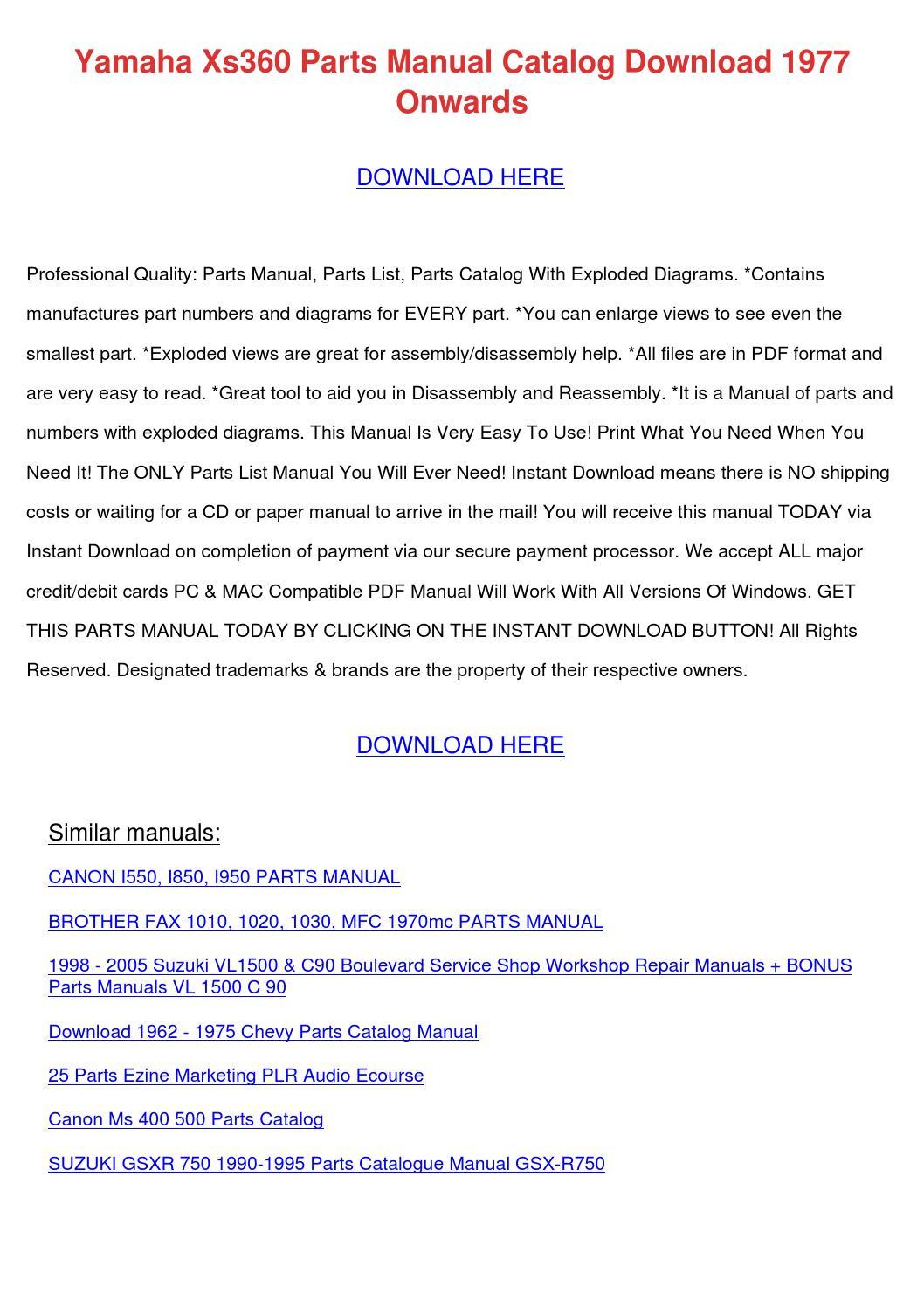 Yamaha Xs360 Parts Manual Catalog Download 19 by BarbaraAndre - issuu