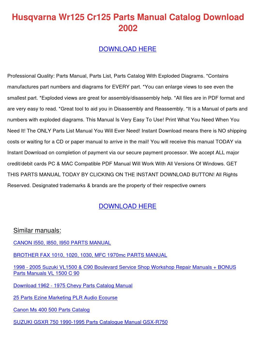 Husqvarna Wr125 Cr125 Parts Manual Catalog Do by CerysBriley - issuu